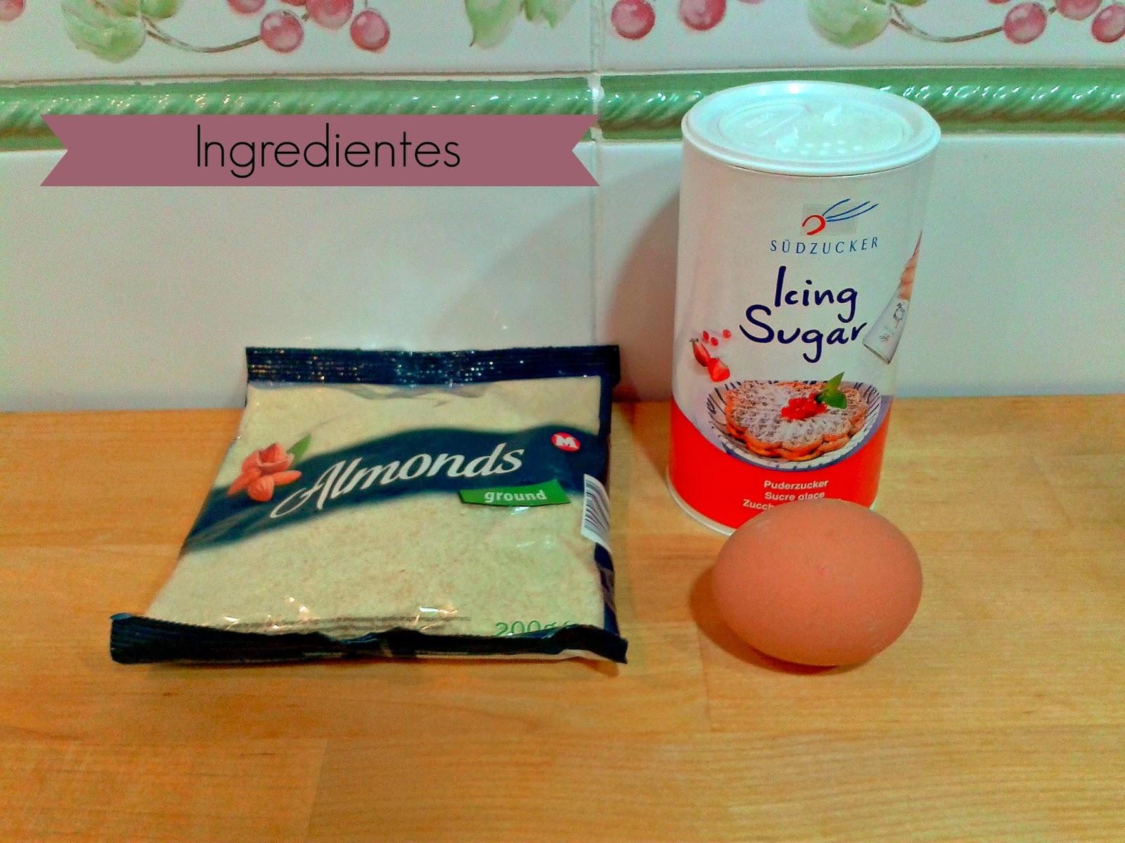 nIngredientes para la elaboración de mazapán : almendra, huevo, azúcar
