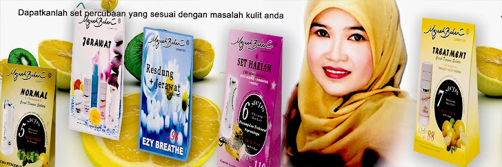 Trial Set dari kiri : set normal, jerawat, resdung + jerawat, harian & treatment