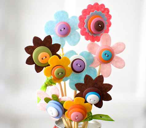 Flores De Fieltro Dia De La Madre