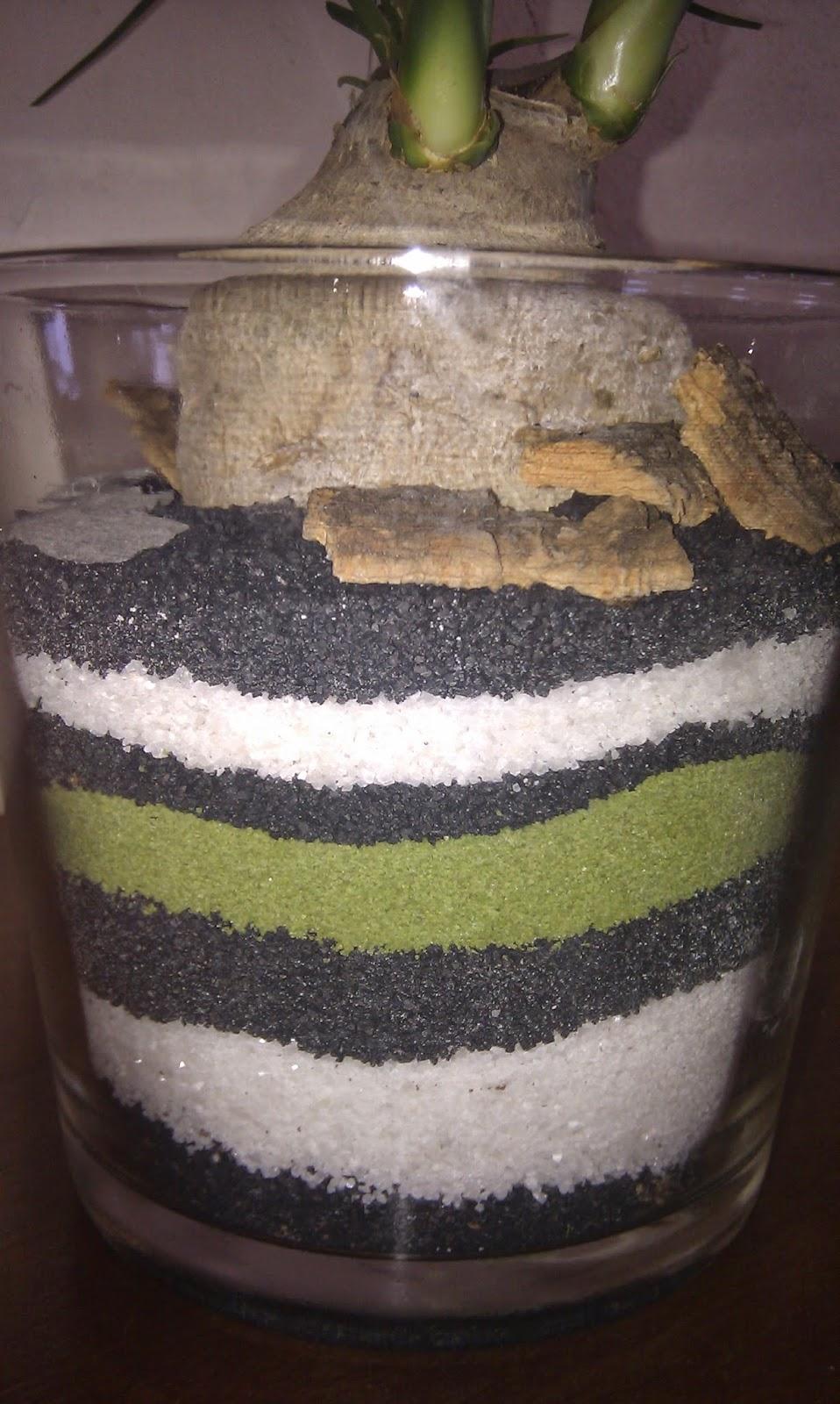plante i glas med striber af farvet sand.