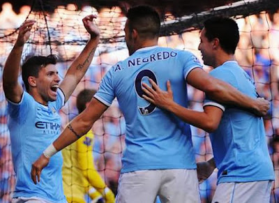 Manchester City vs Manchester United Aguero, Negredo, and Nasri 2013