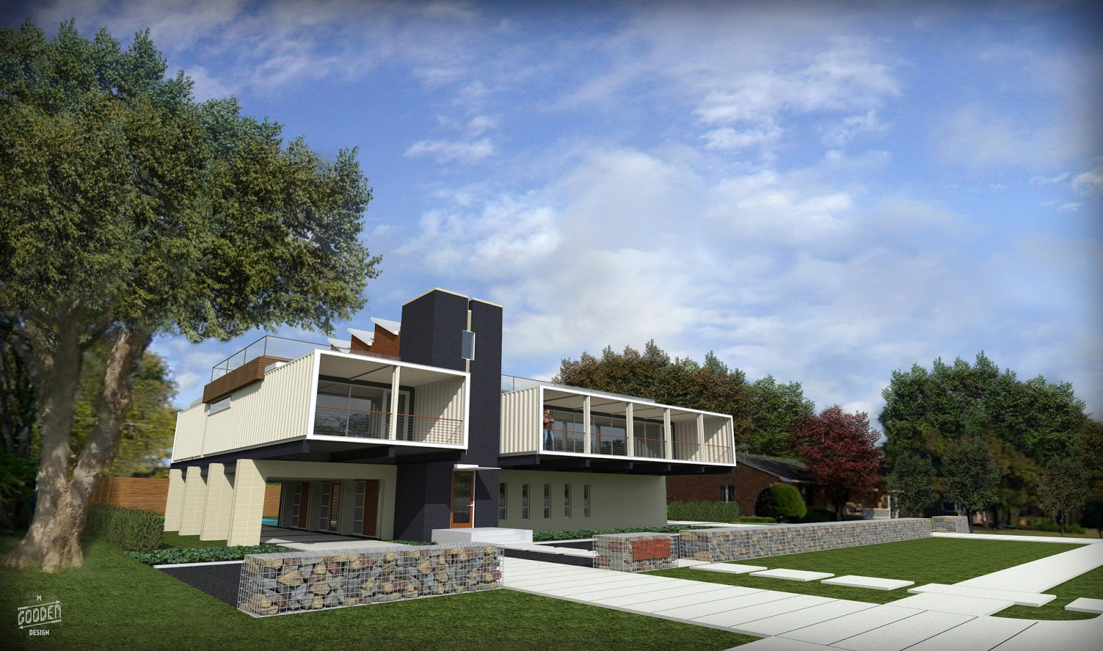 Shipping container homes pv14 two story container home by m gooden design dallas texas - Dallas home design ...