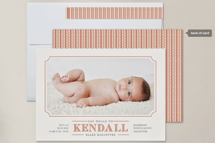 modern baby announcement photo card