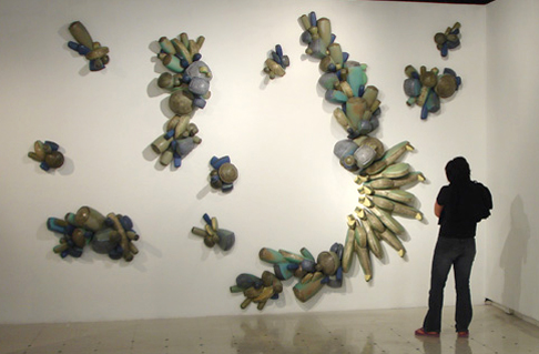 He creates these colored cast porcelain pieces and creates wall art. Each piece is sold separtely but is displayed as one large wall installation. & Letu0027s Talk About Art Baby!: Wall Installation Idea Using Ceramic Works