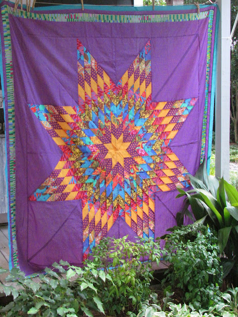 Lone Star Quilt Top with Kaffe Fassett Fabric