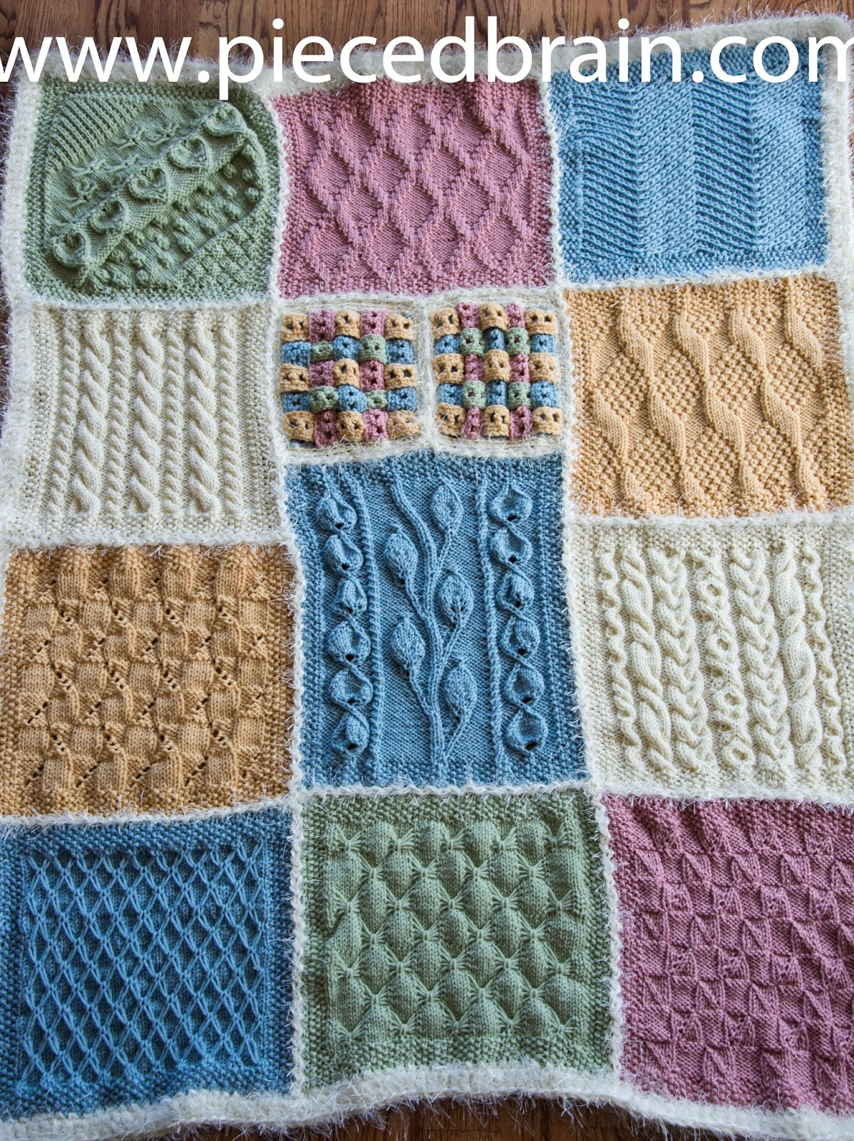 Pieced Brain: Knitted afghan finished! Great way to join the blocks...