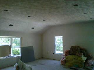 plaster or skim coat ceiling or walls. Black Bedroom Furniture Sets. Home Design Ideas