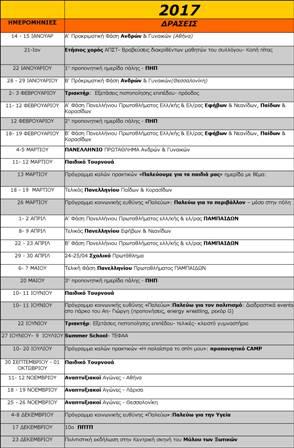 Πρόγραμμα δραστηριοτήτων ΑΠΣ Τρίκαλα - ΚΕΑΠ για την αθλητική χρονιά 2017