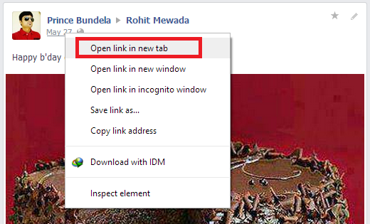 right click on date than click on open link in new tab