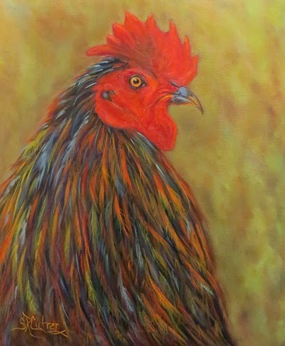 Chick Magnet, a rooster profile in oils