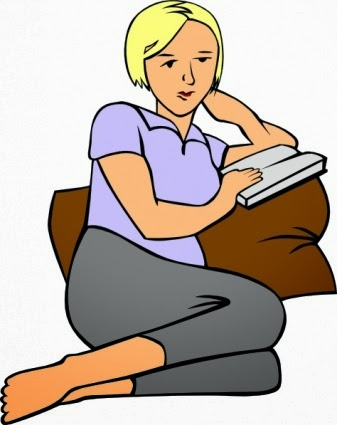 Girl relaxing and reading book after taking food