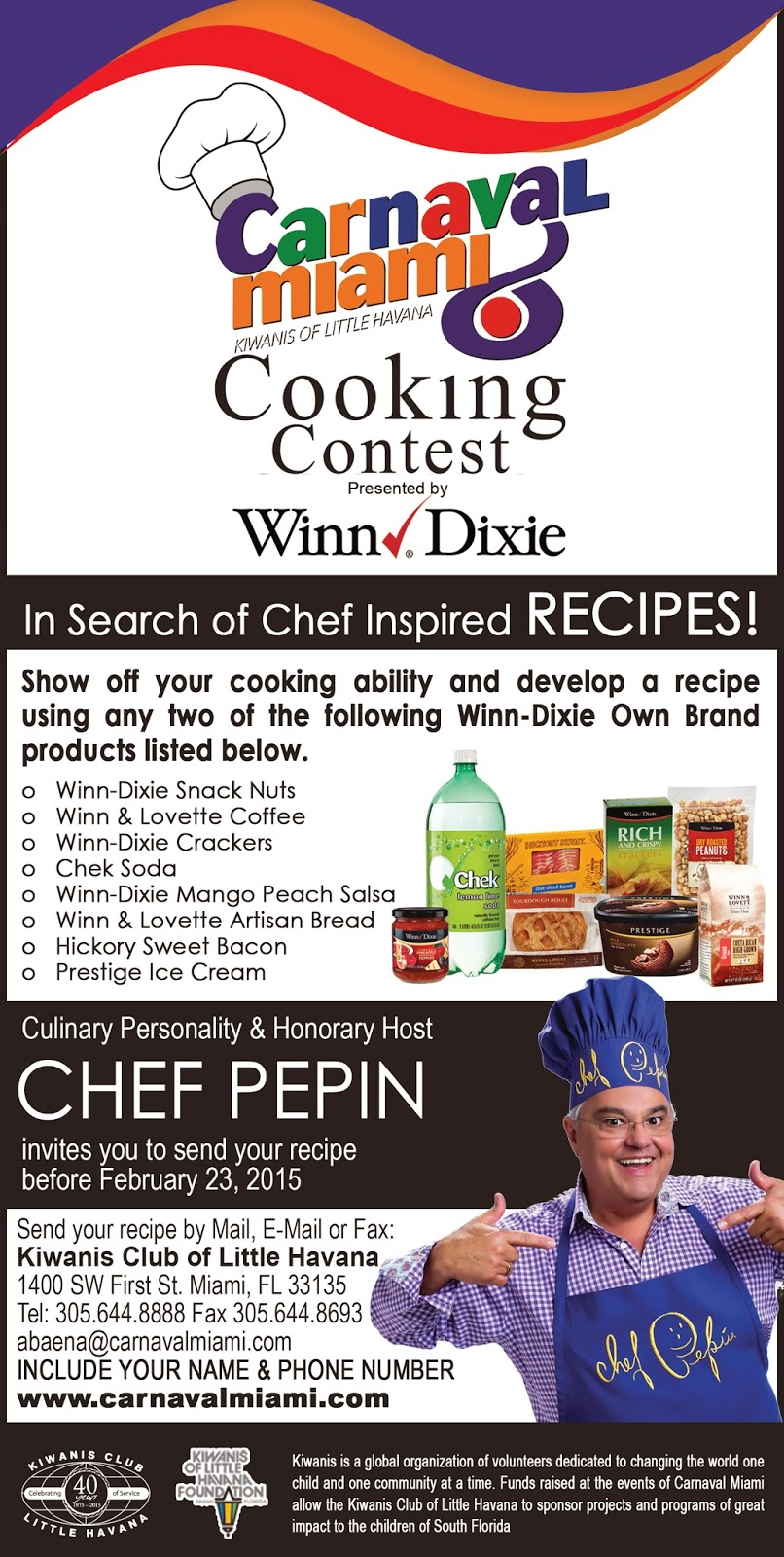 carnaval miami,cooking contest,chef pepin,winn dixie