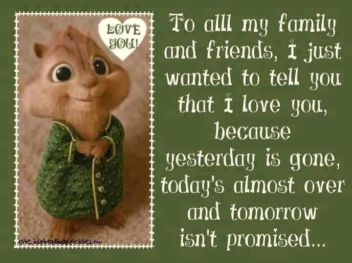 Funny Quotes On Family Love : To all my family and friends, I just wanted to tell you that I love ...