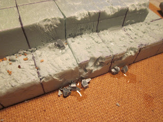 Adding battle damage to base for Warhammer 40k Terrain Project