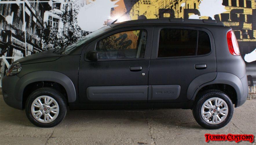 Tunning Customs Fiat Uno Way Envelopado Preto Fosco