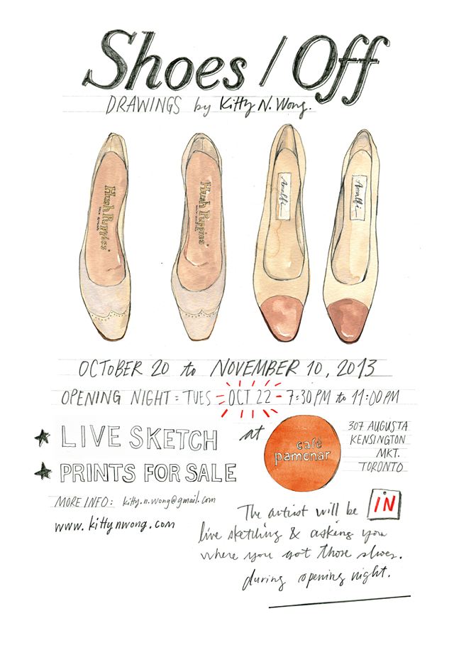Shoes / Off: Drawings by Kitty N. Wong hand lettered art show poster