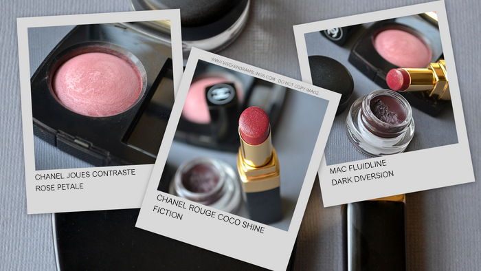 Makeup Chanel Rouge Coco Shine Fiction Lipstick Rose Petale Blush MAC Fluidline Dark Diversion Indian Beauty Blog Looks