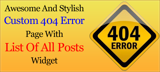 Awesome And Stylish Custom 404 Page With List Of All Posts