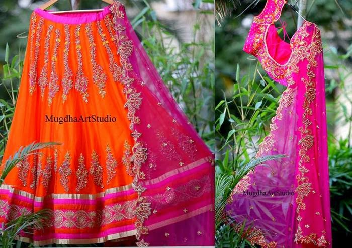 Orange Fuchsia Pink Half Saree