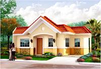 diseño de casa bonita de un piso rodeada de areas verdes
