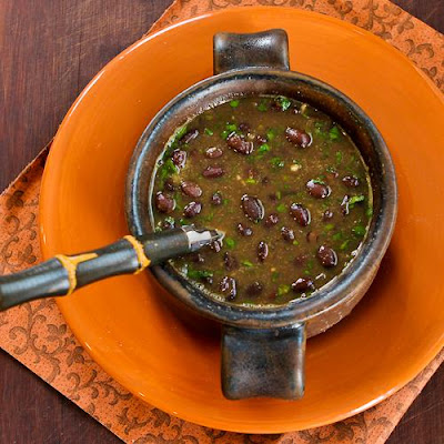 Photo of Spicy Vegan Black Bean Soup with Cilantro and Green Tabasco ...