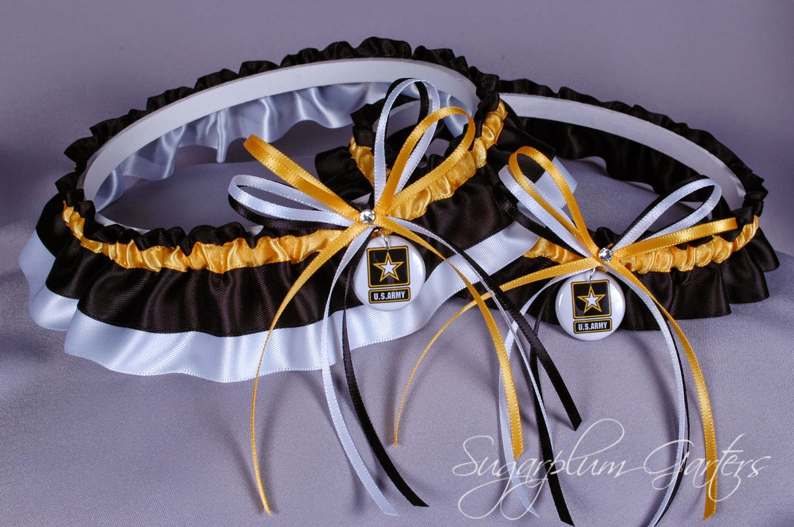 United States Army Wedding Garter Set by Sugarplum Garters