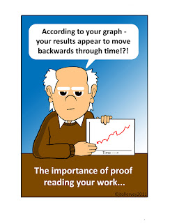 A guy holding a graph that says according to your graph your results appear to move backwards through time. The importance of proofreading