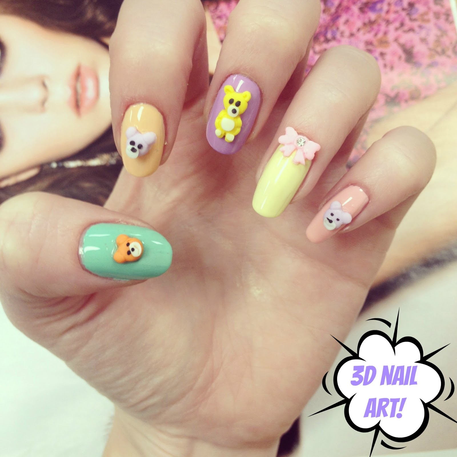 kawaii 3D nail rock teddy bear nail art! | BURKATRON