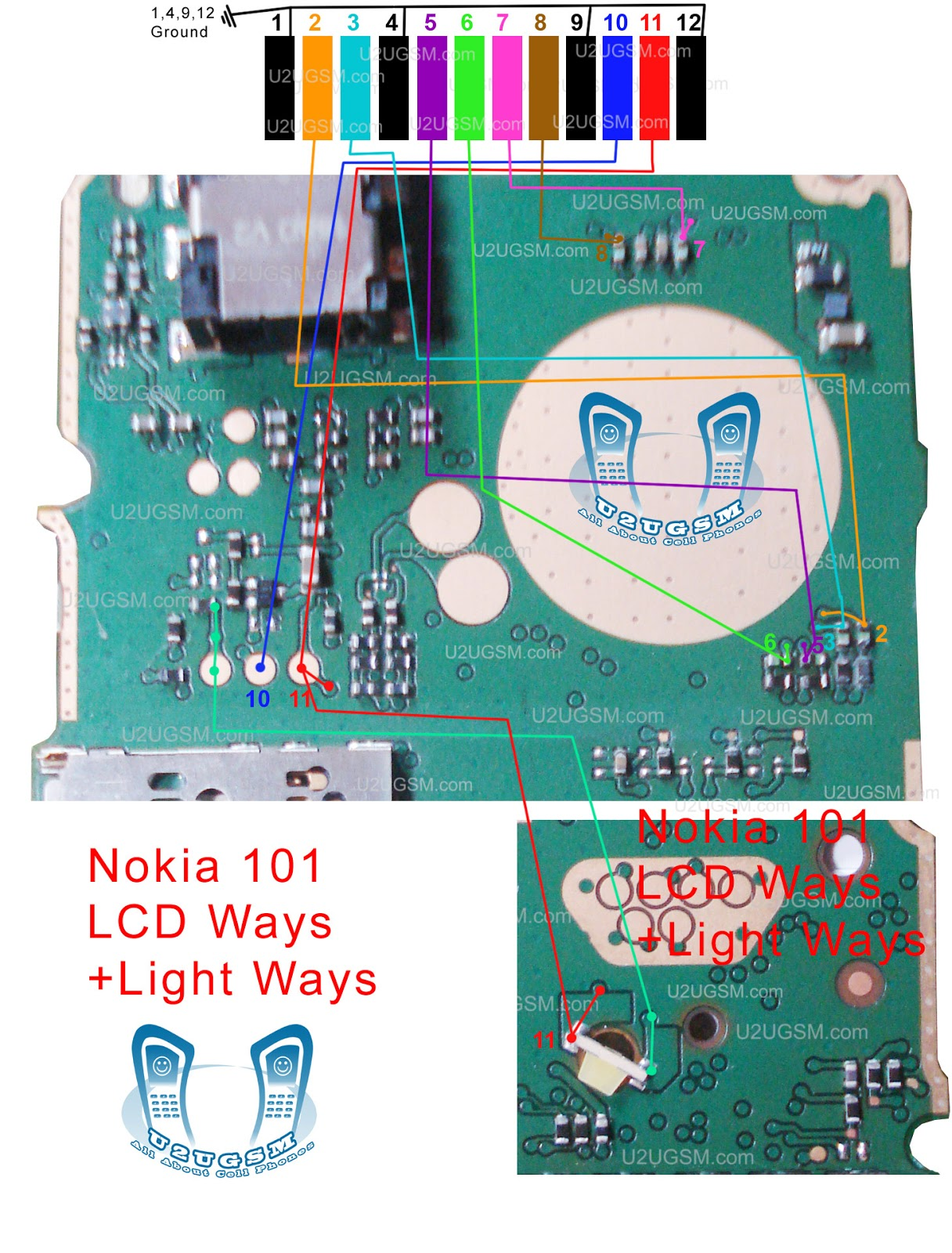 nokia 101 lcd ways lcd light solution + LED Light ways