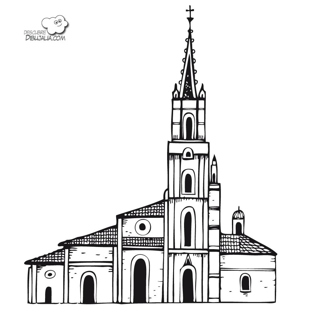 Iglesia catedral para pintar y colorear | Dibujos para Colorear Gratis