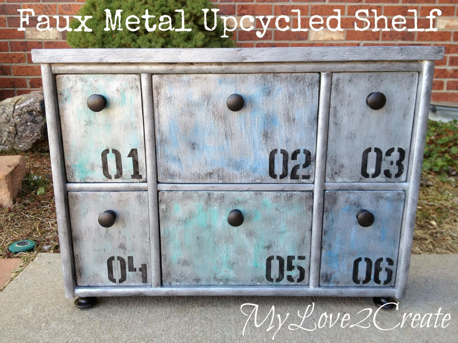 Faux Metal Upcycled Shelf after