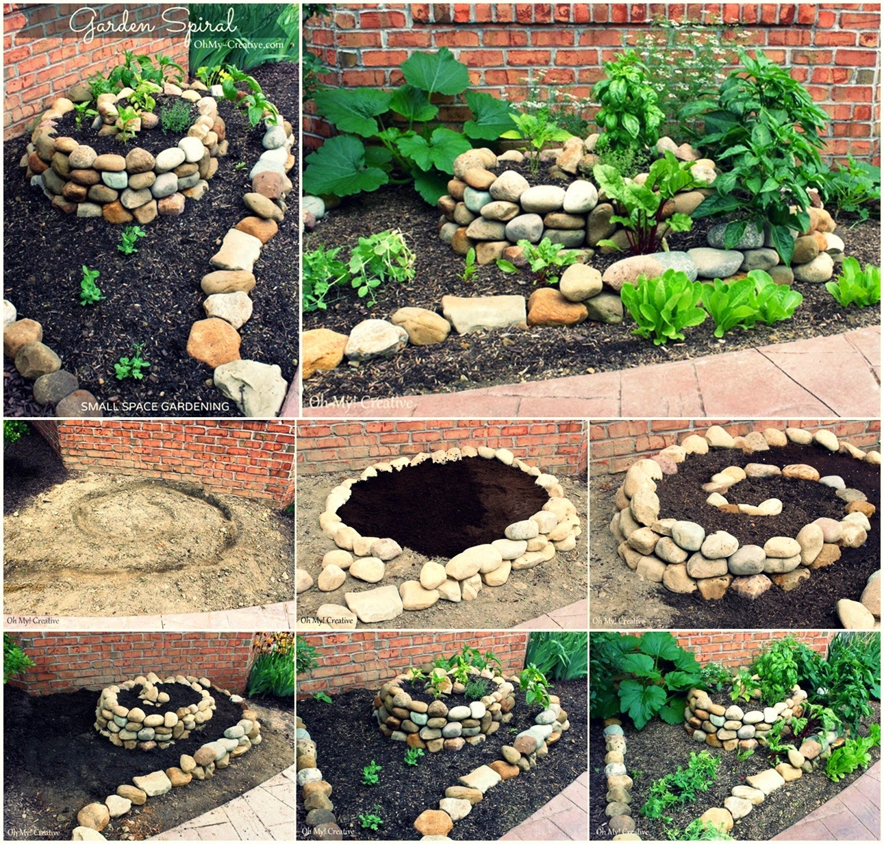 diy create a small vegetable garden using a garden spiral