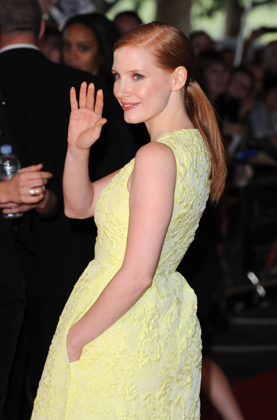 Jessica Chastain flaunts cleavage in a plunging frock at the 'Salome and Wilde Salome' London premiere