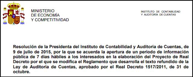 Proyecto Real Decreto modificación Reglamento Auditoría Cuentas información pública