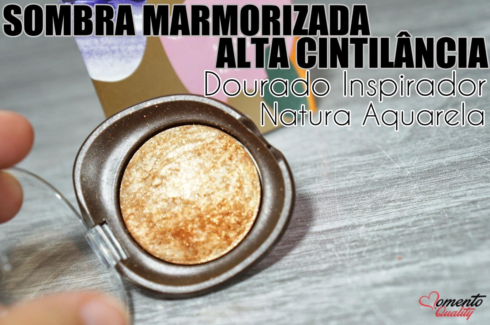Sombra Marmorizada Alta Cintilância Dourado Inspirador Natura Aquarela