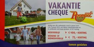 www.roompot.nl/cheque 100 euro korting vakantiecheque