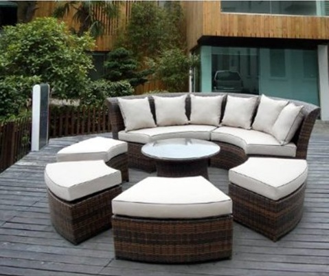 Circle furniture sofa in a minimalist terrace