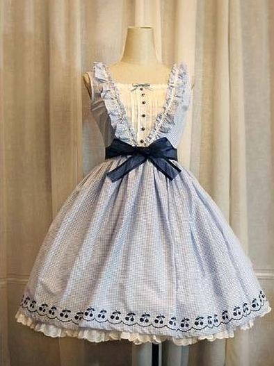 Gingham Cherry Embroidery Sweet Lolita Dress
