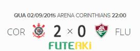 O placar de Corinthians 2x0 Fluminense pela 22ª rodada do Brasileirão 2015
