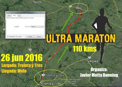 110k Ultramaratón desde Treinta y tres a Melo (dom 26/jun/2016)