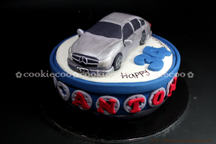 Cookiecoo mercedes c200 car cake for anton for Mercedes benz birthday cake