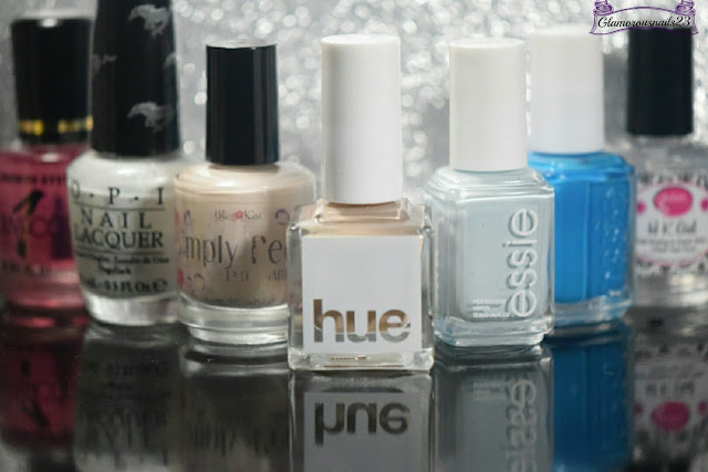 Duri Rejuvacote, OPI Angel With A Lead Foot, Bliss Kiss Simply Peel Latex Barrier, Square Hue Desert Storm, Essie Find Me An Oasis, Essie Strut Your Stuff, Glisten & Glow HK Girl Fast Drying Top Coat