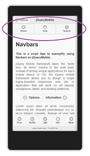 jQueryMobile App using Navbars