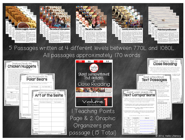 http://www.teacherspayteachers.com/Product/Short-Text-for-Teaching-Text-Structure-Vol1-1235187
