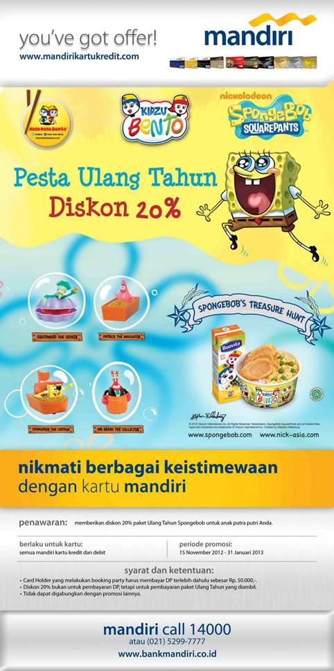 Promo Kartu Bank Mandiri Diskon Paket Ulang Tahun Spongebob