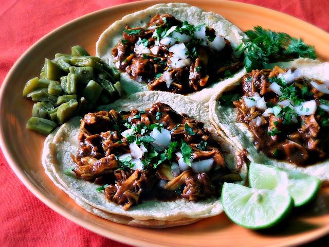 Shredded Chicken Tacos de Mole - lacocinadeleslie.com