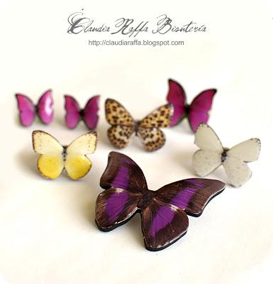 Broche, anillo y pendientes mariposa