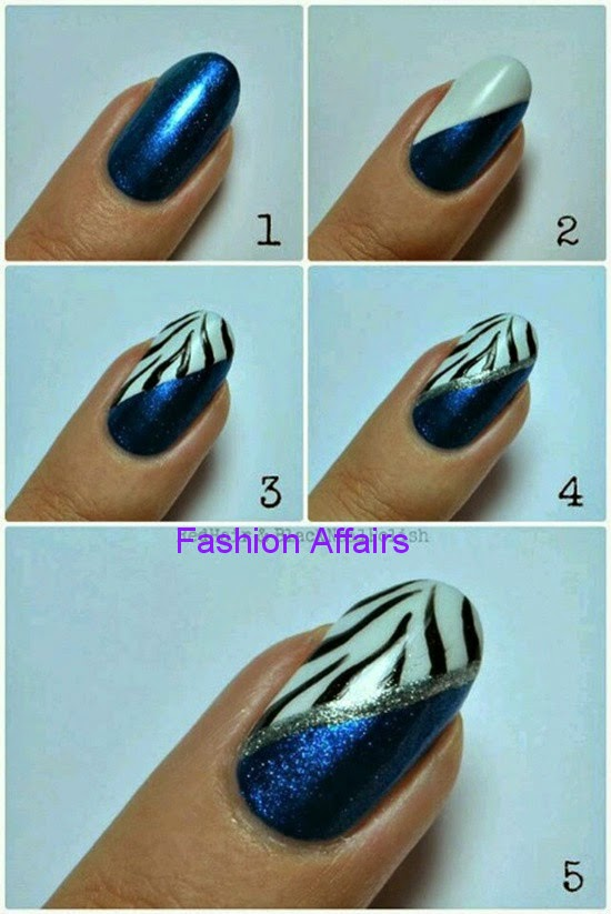 White Blue Nail Art Design Fashion Affairs