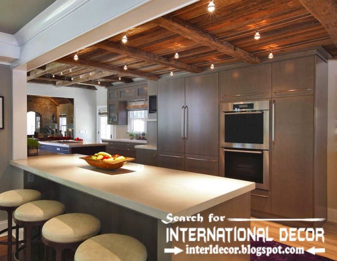 modern kitchen ceiling designs ideas, wood ceiling for kitchen