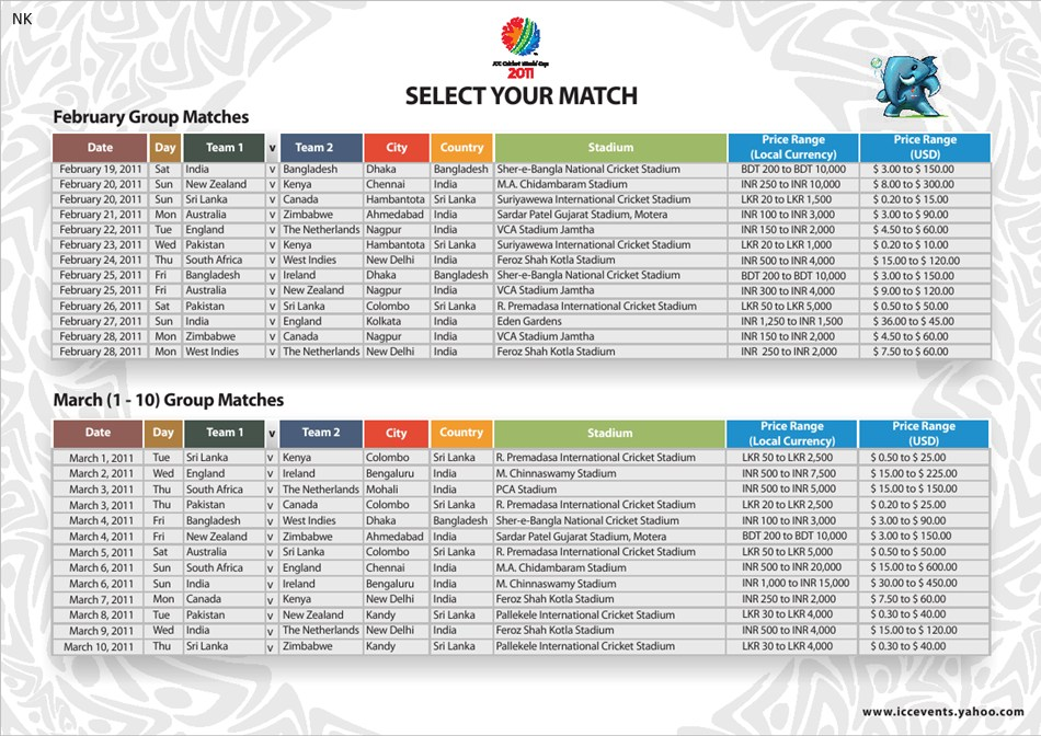 live score, icc cricket world cup schedule 2011 & time table,
